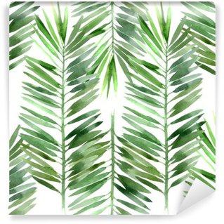Vinil Duvar Resmi Suluboya palmiye ağacı yaprağı dikişsiz