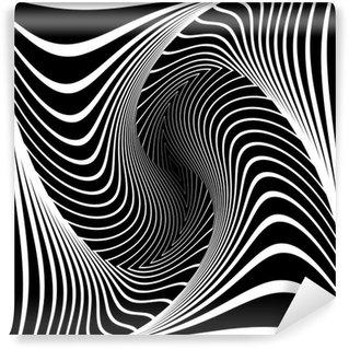 Vinil Duvar Resmi Tasarım monokrom girdap hareketi yanılsama arka plan