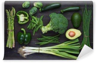 Vinil Duvar Resmi Taze yeşil sebzeler organik