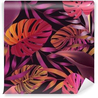 Vinil Duvar Resmi Tropik çiçekler, orman yapraklar, cennet çiçeği kuş.
