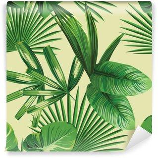 Vinil Duvar Resmi Tropikal palmiye seamless background yaprakları