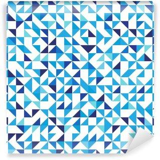Vinil Duvar Resmi Üçgenler ile mavi geometrik arka plan. Dikişsiz desen. Vektör çizim 10 EPS