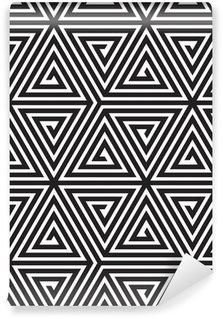 Vinil Duvar Resmi Üçgenler, Siyah ve Beyaz Soyut Dikişsiz Geometrik Desen,