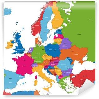 Vinil Duvar Resmi Ülke ve başkentleri ile Renkli Avrupa haritası