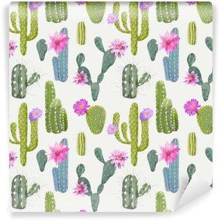 Vinil Duvar Resmi Vektör Cactus Arkaplan. Dikişsiz Desen. Egzotik bitki. dönence