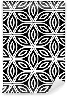 Vinil Duvar Resmi Vektör Modern kesintisiz kutsal geometri desen, hayat geçmişi, duvar kağıdı baskı siyah ve beyaz soyut geometrik çiçek, tek renkli, retro doku, yenilikçi moda tasarımı