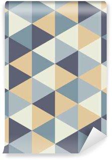 Vinil Duvar Resmi Vektör Modern kesintisiz renkli geometri üçgen desen, renk soyut geometrik arka plan, yastık çok renkli baskı, retro doku, yenilikçi moda tasarımı