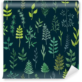 Vinil Duvar Resmi Vektör yeşil suluboya çiçek seamless pattern.