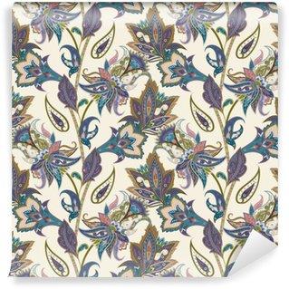 Vinil Duvar Resmi Vintage floral ve şal sorunsuz desen, oryantal arka plan