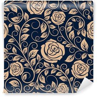 Vinil Duvar Resmi Vintage güller çiçekler seamless pattern