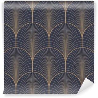 Vinil Duvar Resmi Vintage tan mavi ve kahverengi kesintisiz art deco duvar kağıdı deseni vektör