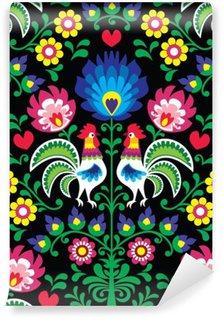 Vinil Duvar Resmi Wzory Lowickie, Wycinanka - horozlar ile sorunsuz Polonya halk sanatı desen