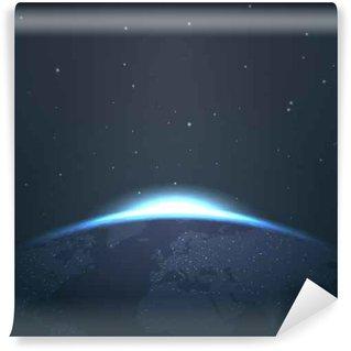 Vinil Duvar Resmi Yıldız ile uzaydan dünya üzerinde Sunrise ufuk ve vector illustration ışıklar