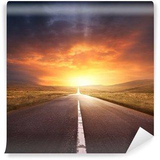 Vinil Duvar Resmi Yol Bir Sunset içine Leading