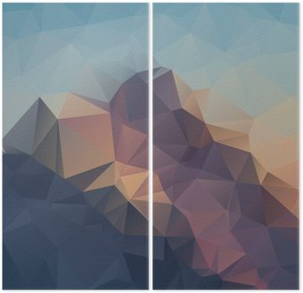 Dyptyk Abstrakcyjne geometryczne kolorowe tło. Górskie szczyty. Kompozycja z trójkątów geometrycznych kształtach. wielokąt krajobrazu.