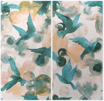 Dyptyk Abstrakcyjne koła akwarelowe i ptaki latające szwu