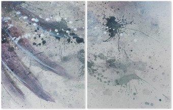 Dyptyk Abstrakcyjne malarstwo z rozmyte i poplamione strukturze z delikatnym piór sylwetki.