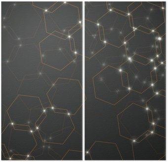 Dyptyk Abstrakcyjne tło komórek sześciokątnych, geometryczne projektowania ilustracji wektorowych eps 10