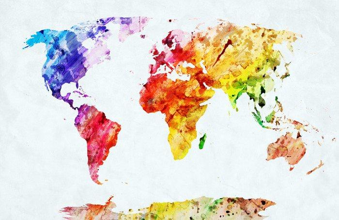 Dyptyk Akwarela mapa świata - Style