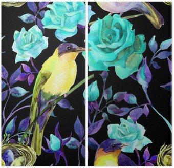 Dyptyk Akwarela na ptaki niebieskie róże