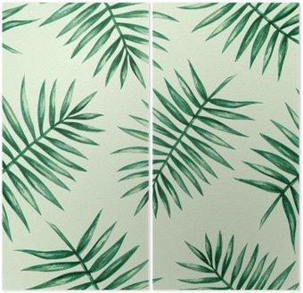 Dyptyk Akwarela tropikalnych liści palmowych szwu wzorca. ilustracji wektorowych.