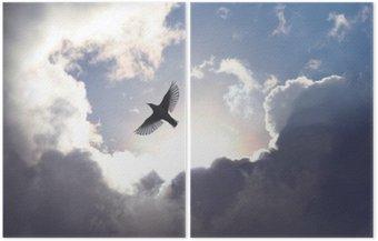 Dyptyk Anioł w niebie ptak