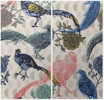 Archiwalne tła z ptaków i kwiatów, wzór mody