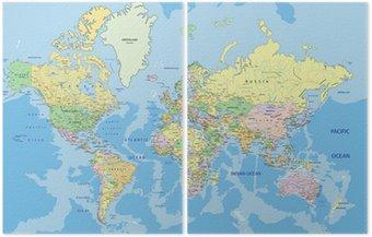 Dyptyk Bardzo szczegółowe polityczna mapa świata z etykietą.