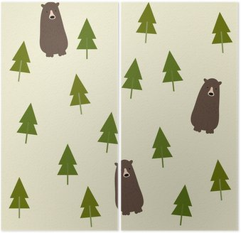Dyptyk Bear and forest seamless background.