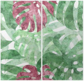 Dyptyk Bez szwu powtarzalny monstera liści w tle