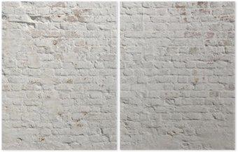 Dyptyk Białe grunge ceglany mur w tle