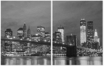 Dyptyk Brooklyn Bridge i Manhattan Skyline w nocy, New York City