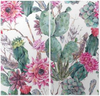 Cactus akwarela szwu w stylu boho.