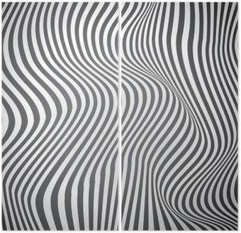 Dyptyk Czarno-białe zakrzywione linie, fale powierzchniowe, vector design
