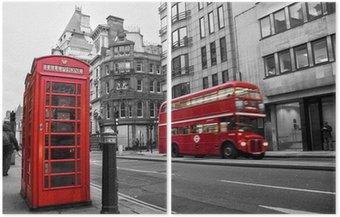 Czerwona budka telefoniczna i autobusów w Londynie (Wielka Brytania)