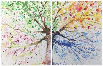 Dyptyk Cztery pory roku drzewo