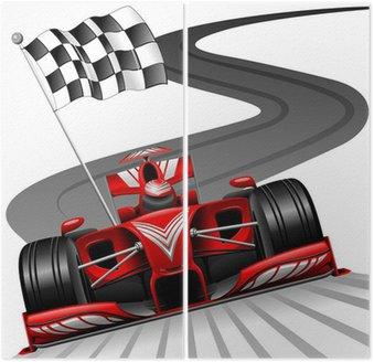 Dyptyk Formuła 1 czerwony samochód na tor wyścigowy