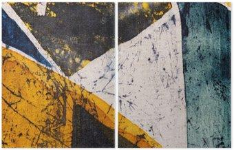 Dyptyk Geometria, gorący batik, tekstury tła, ręcznie na jedwabiu, streszczenie surrealizm sztuka