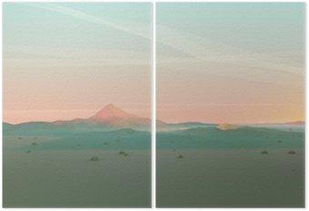 Dyptyk Geometryczne Górski krajobraz z gradientu niebo