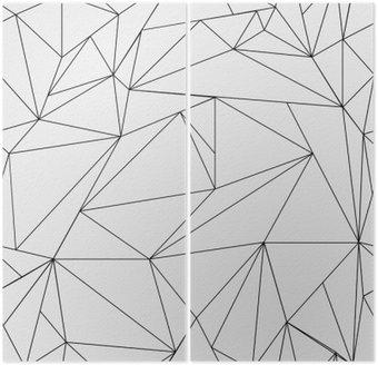 Dyptyk Geometryczne proste czarno-białe minimalistyczny wzór, trójkąty lub witraż. Może być używany jako tapeta, tło lub tekstury.
