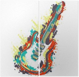 Dyptyk Gitara elektryczna. Ręcznie rysowane stylu grunge sztuki. Retro transparent, kartka, koszulka, torba, druk, poster.Vintage kolorowe ręcznie rysowane ilustracji wektorowych