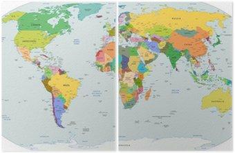 Dyptyk Globalnej mapie politycznej świata, wektor