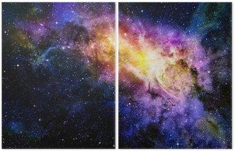 Dyptyk Gwiaździsty głęboki kosmos nebual i galaxy