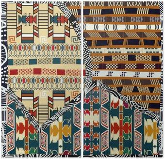 Dyptyk Indian plemiennych kolorowych ilustracji bez szwu pattern.Vector