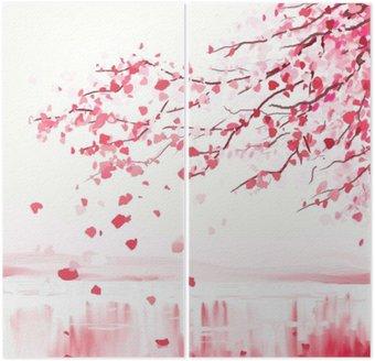 Dyptyk Japoński wiśniowe drzewo