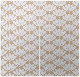 Dyptyk Jednolite beżowy orientalny kwiatowy wzór wektora
