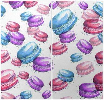 Jednolite rocznika wzór z akwarelą. Smaczne kolorowe macaron, makaroniki .__ używać do projektowania, pocztówek, plakatów, opakowań, zaproszeń i innych.