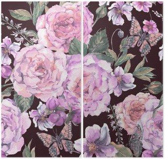 Dyptyk Jednolite tło z róż i motyli