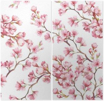 Dyptyk Jednolite wzór z kwiatów wiśni. Ilustracja akwarela.