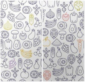 Dyptyk Jednolite wzór z owoców i warzyw ikony